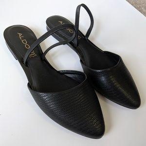 Aldo Leather Black Pointed Slingback Kyra Flats